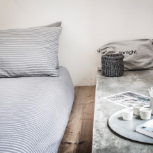 Llafranc Bed Linen - Grey and White | mikmax