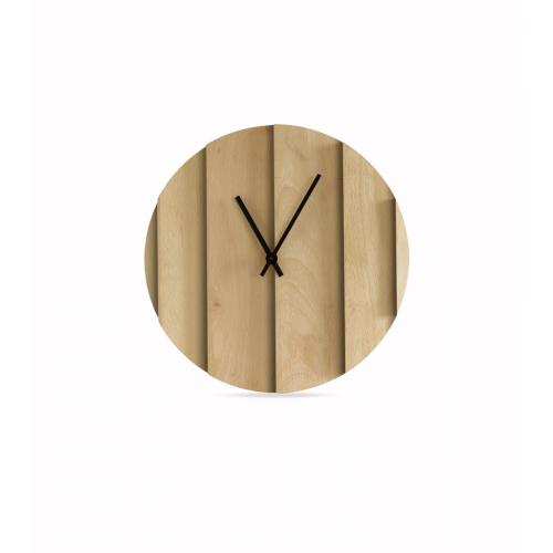 Parallels Wall Clock Natural Beech- Omelette ed